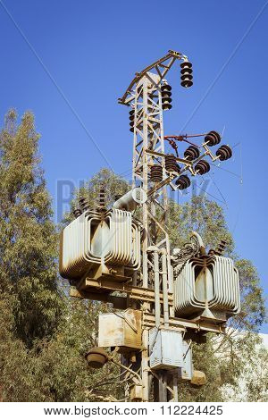 Electrical Poles Of High Voltage In Blue Sky, Sharm El Sheikh, Egypt