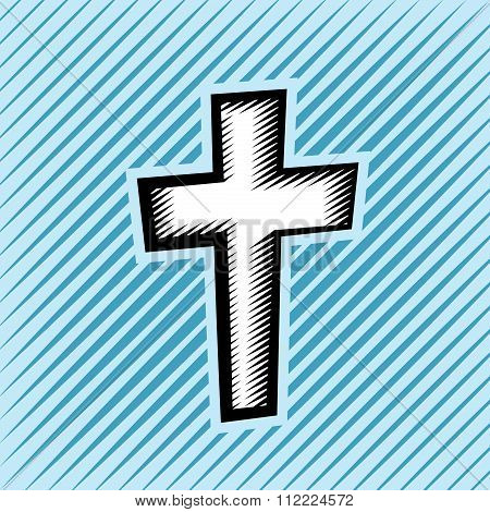 Cross Hatch Scratchboard Christian Cross