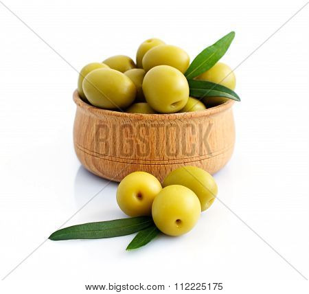 Bowl Of Brine Cured Green Olives