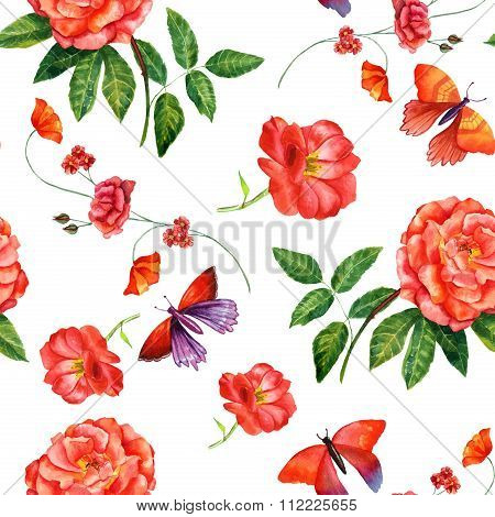 Vintage style watercolour roses and butterflies seamless background pattern