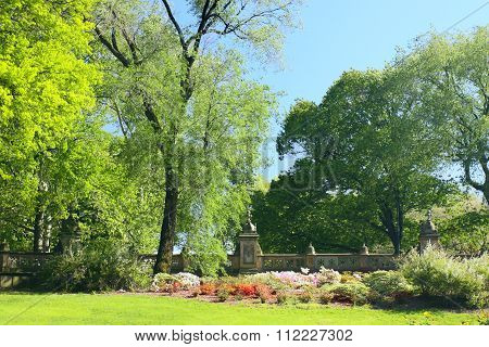 Spring Park With Blossoming Flowerbeds