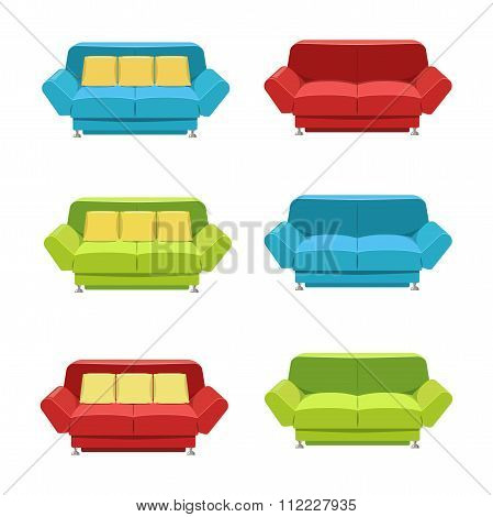 Vector flat sofa icons set.