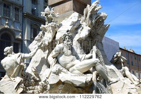 Fountain Zeus In Bernini's, Piazza Navona In Rome, Italy