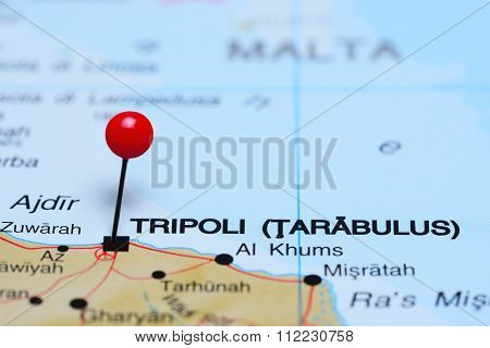 Tripoli pinned on a map of Africa