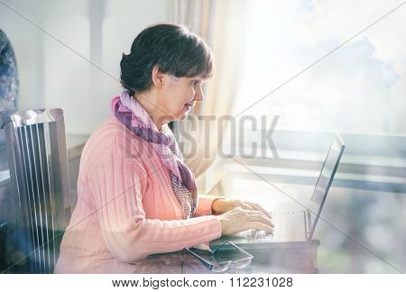 Elderly good looking woman working on laptop. Portrait in domestic interior