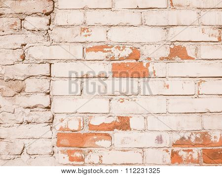 Retro Looking White Brick Wall