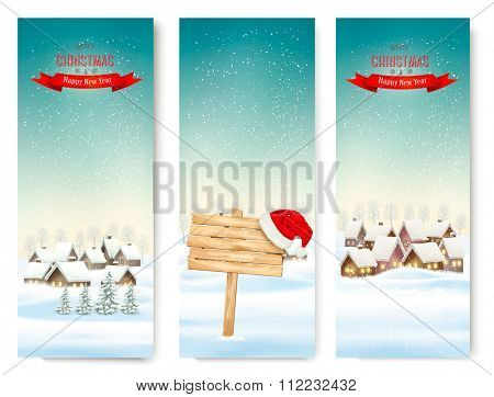 Holiday Christmas banners with villages and wooden sign. Vector.