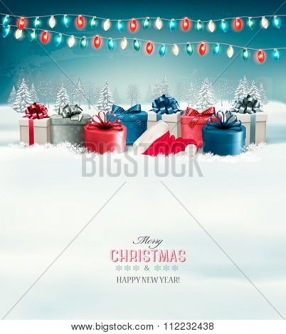 Holiday Christmas background with gift boxes and garland. Vector.