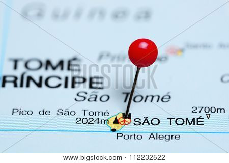 Sao Tome pinned on a map of Africa