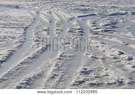 Icy Tracks In Snow