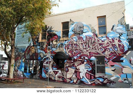 Colorful street art in Melbourne, Australia