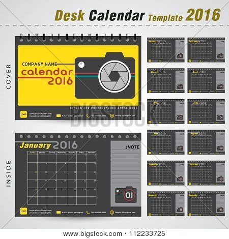Desk Calendar 2016 Vector Design Template For New Year ,photographer ,photography ,office Object. Ve