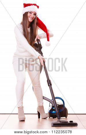 Girl Santa Claus Hat With Vacuum Cleaner