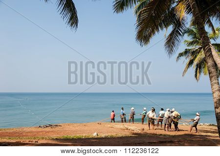Fishermen At Varkala Beach.