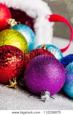 Christmas decorations on red basket