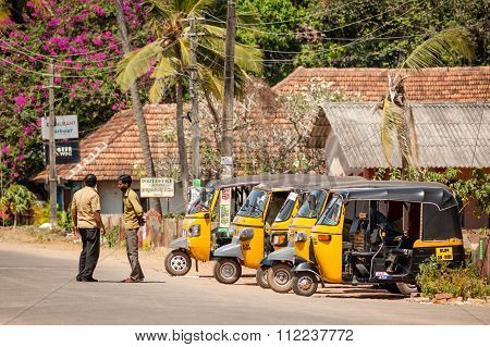 Tuk-tuk Rickshaws Parked At Alappuzha.