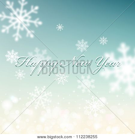 vector Christmas background with snowflakes blurred in the background