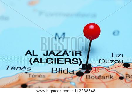 Algiers pinned on a map of Africa