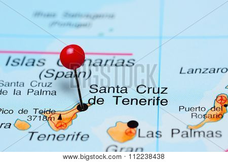 Santa Cruz de Tenerife pinned on a map of Africa