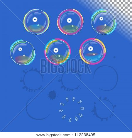 Soap bubbles with transparency, vector design element set and traces of burst bubbles