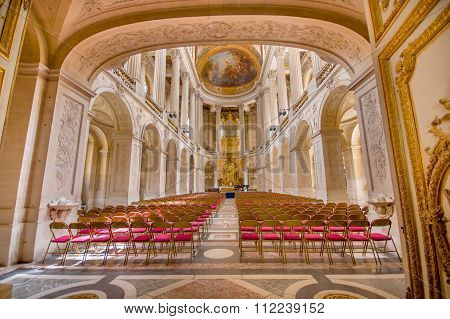 Impressive interiors of the Fifth Chapel in Versailles Palace, near Paris, France