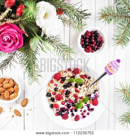 Oats With Berries At Breakfast