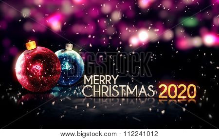 Merry Christmas 2020 Night Bokeh Beautiful 3D Background