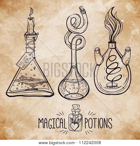 Hand drawn vintage alchemical laboratory icon