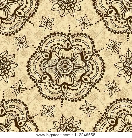 Vector Seamless Texture With Floral Ornament In Indian Style