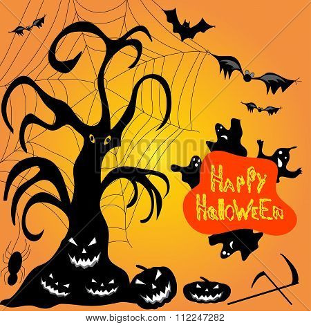 Halloween Ghost Pumpkin Bats Cobwebs Vector Illustration