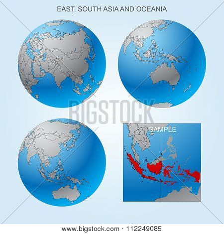 Globe set with East, South Asia and Oceania with borders of countries. Easy to select every country and delete contour of borders. Vector illustration