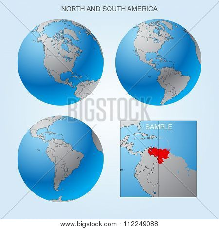 Globe set with North and South America with borders of countries. Easy to select every country and delete contour of borders. Vector illustration