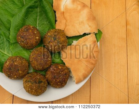 Falafel With Salad Top View