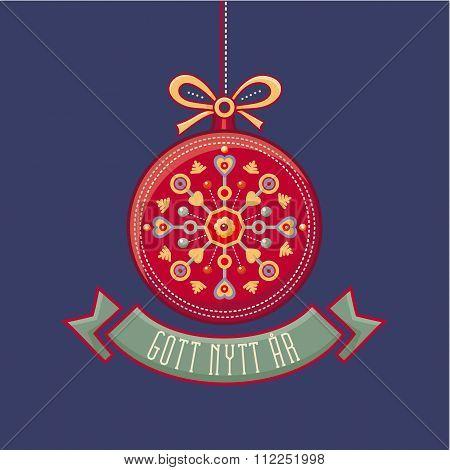 Scandinavian Christmas card. Gott Nytt Ar