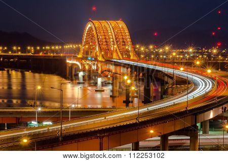 Han River With Banghwa Bridge At Night In Seoul, Korea (long Exposure).