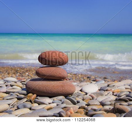 round stone tower on the beach
