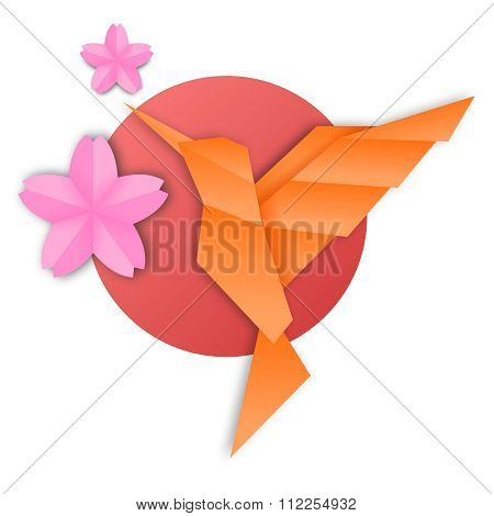 Vector Creative Japanese Origami Hummingbird Illustration with cherry blossom sakura and sunset