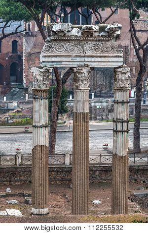Temple of Castor and Pollux in Roman Forum, Rome, Italy