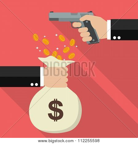 Hand Holding A Handgun For Robbery