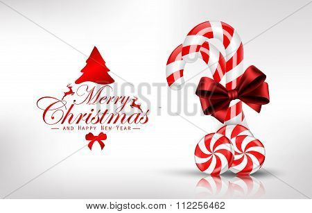 Christmas background with lollipop and orange slice