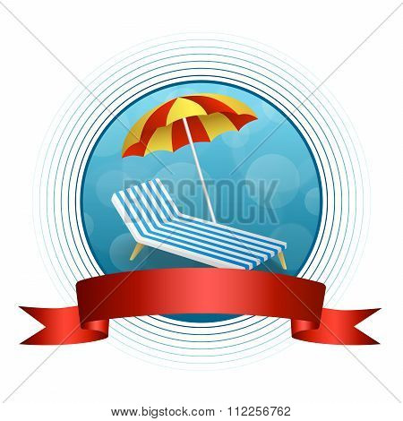 Abstract background summer beach vacation deck chair umbrella blue yellow circle frame red ribbon