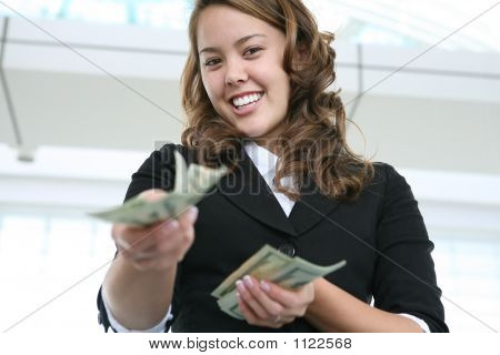 Woman Giving Money