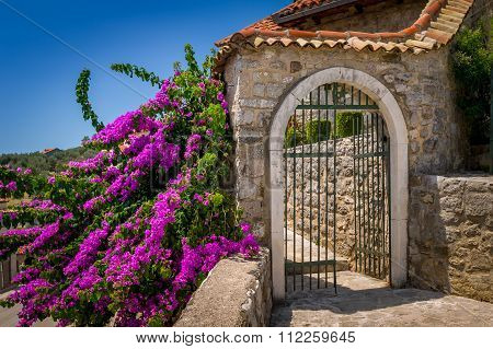 Old style stone gate at sunny summer day