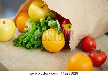 Paperbag with fruits and vegetables