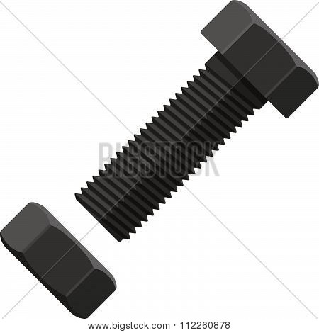 Bolt With Fastening Nut In Flat Design