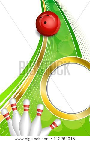 Background abstract green bowling red ball gold vertical frame illustration vector