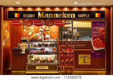 TOKYO JAPAN - NOVEMBER 15 2015: Manneken Waffles makes and sells wonderful Belgian waffles throughout Japan offers regular flavors and also has plenty of Japanese flavors