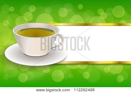 Background abstract drink green tea cup frame gold stripes illustration vector
