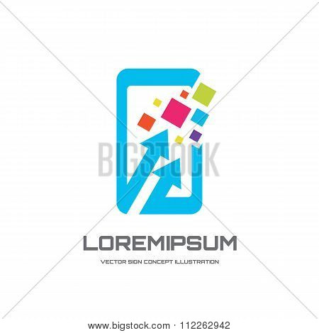 Mobile phone vector logo concept illustration. Smarthone vector logo creative illustration.