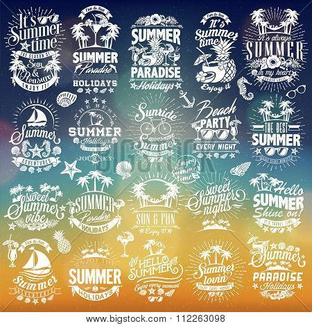 Retro hand drawn elements for Summer calligraphic designs | Vintage ornaments | All for Summer holid
